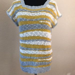 Anthropologie Tulle knit top Gray/yellow/white